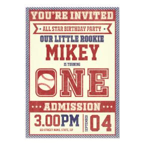1st Birthday Vintage Baseball Invite