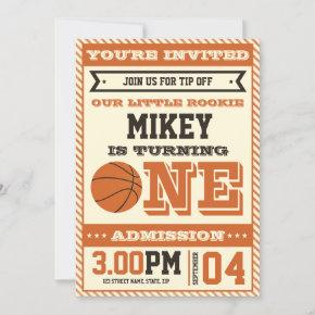1st Birthday Vintage Style Basketball Invitation