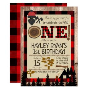 1st Birthday Wild One Flannel Lumberjack Theme Invitation