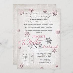1st Birthday Winter Onederland Invitation