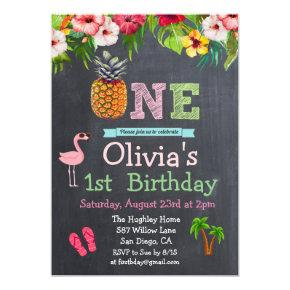 1st First Birthday Aloha Luau Tropical Invitation