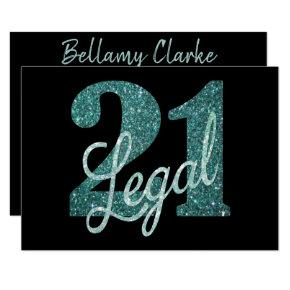 21 and Legal | Green Glitter Modern 21st Birthday Invitations