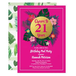 21 birthday party invitation tropical pink