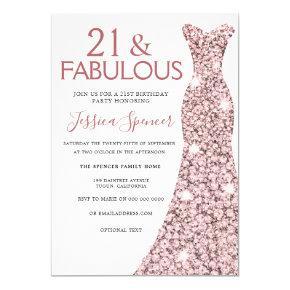21 Fabulous Rose Gold Dress 21st Birthday Party Invitation