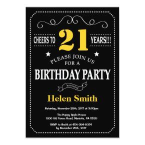 21st Birthday Black and Yellow Chalkboard Invitation