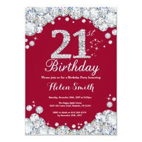 21st Birthday Burgundy Red and Silver Diamond Invitation