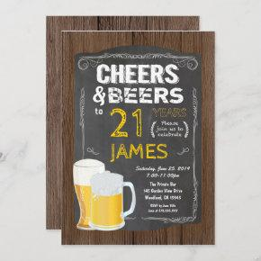 21st birthday, Cheers to 21 years beer party Invitation