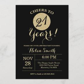 21st Birthday Invitation Black and Gold Glitter