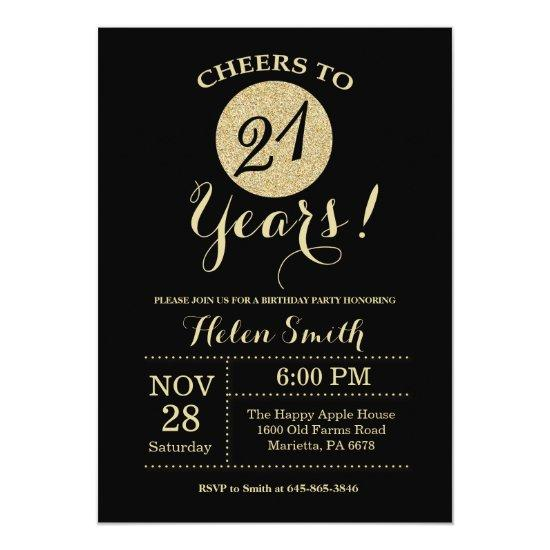 21st Birthday Invitations Black and Gold Glitter
