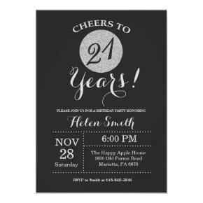 21st Birthday Invitation Black and Silver Glitter