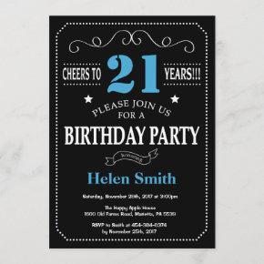 21st Birthday Invitation Blue and Black Chalkboard