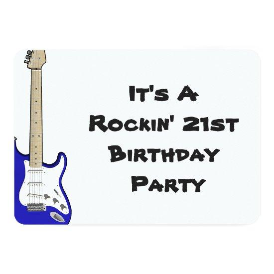 21st birthday invitation blue and white guitar invitations 21st birthday invitation blue and white guitar invitations filmwisefo