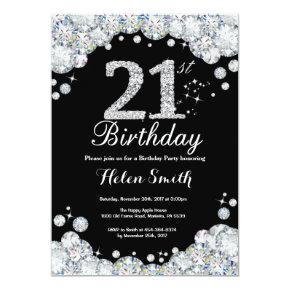 21st Birthday Invitation Chalkboard Silver Diamond