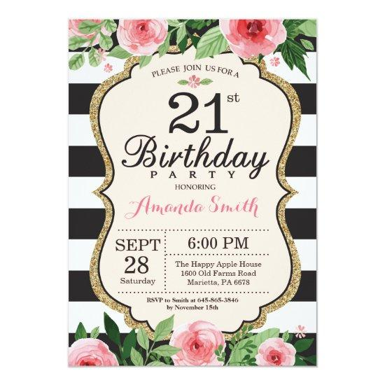 21st Birthday Invitation Floral Pink Gold Black