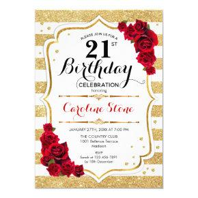 21st Birthday Invitation Gold White Stripes Roses