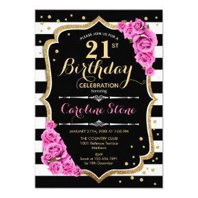 21st Birthday Invitation Pink Black White Stripes