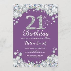 21st Birthday Invitation Purple and Silver Diamond