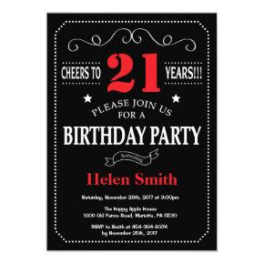 21st Birthday Invitation Red and Black Chalkboard