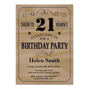21st Birthday Invitation Rustic Wood