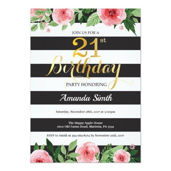 21st Birthday Invitations Women Floral Gold Black