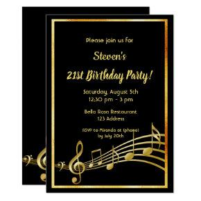 21st birthday party black and gold mustic notes card