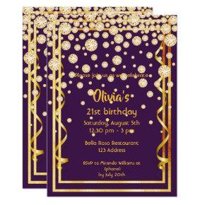 21st birthday party chic purple diamonds faux gold invitation