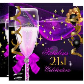 21st Birthday Party Fabulous Pink Purple Champagne Invitations