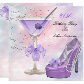 21st Birthday Party Lilac Martini Purple Pink Invitations