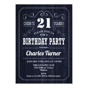 21st Birthday Party - Navy Wood Pattern Invitation