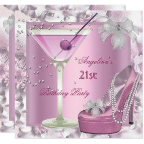 21st Birthday Party Pink Martini High Heel Floral Invitations