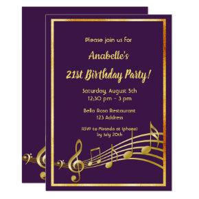 21st birthday party purple and gold music notes invitation