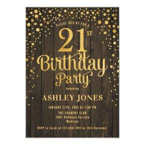 21st Birthday Party - Rustic Wood & Gold Invitation