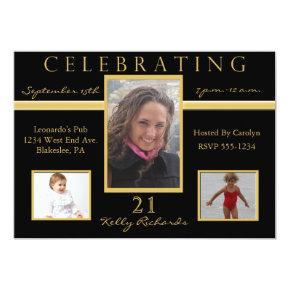 21st Birthday Party Tri Photo Invitations