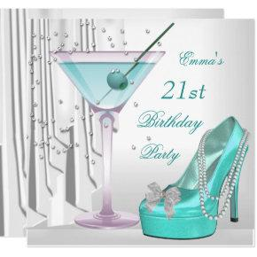 21st Birthday Party White Teal Martini Pearl Shoe Invitation