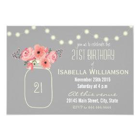 21st Birthday Pink Watercolor Flowers & Mason Jar Card
