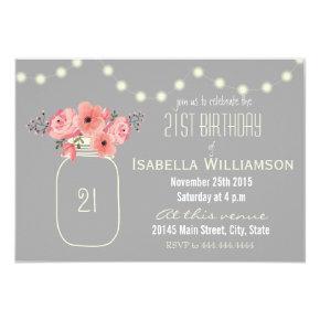 21st Birthday Pink Watercolor Flowers & Mason Jar Invitation