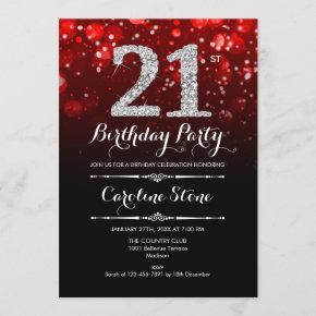21st Birthday - Red Black Silver Invitation
