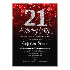21st Birthday - Red Black Silver Invitation