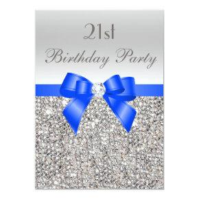 21st Birthday Silver Sequin Royal Blue Bow Diamond – Candied