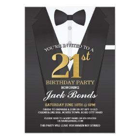 21st Birthday Spy Suit Black tie Gold Invitation