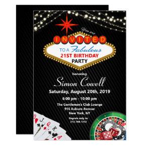 21st Birthday Vegas Casino Invitation