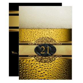 21st Mans Beer Black Gold Birthday Party Invitations