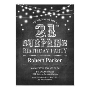 21st Surprise Birthday - Chalkboard Black White Invitation