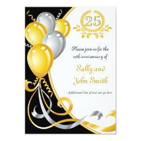 25th Anniversary Gold & Silver Birthday Invitation