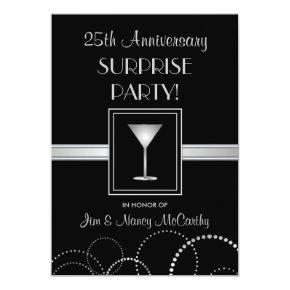 25th Anniversary Surprise Party Custom Invitations