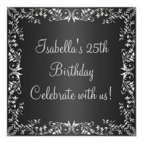 25th Birthday Black & Silver Floral Metal Invitations