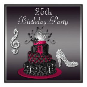 25th Birthday Disco Diva Cake and Heels Hot Pink Invitations
