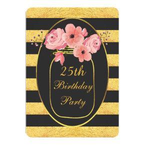25th Birthday Floral Mason Jar Gold Stripes Card