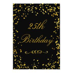 25th Birthday Glamorous Gold Confetti Invitation