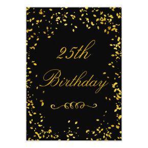 25th Birthday Glamorous Gold Confetti Invitations